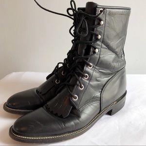 Justin kiltie lacer Black Western granny boots 7.5